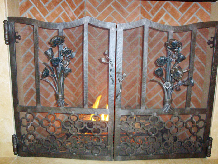 Iron railing fireplace screens railing staircases austin for Custom wrought iron fireplace screens